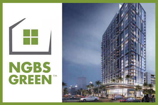 NGBS Green logo and rendering of a new multifamily building