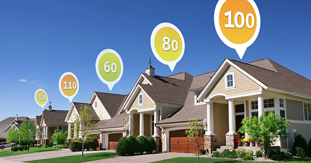 Home energy rating displayed above a row of homes in a neighborhood