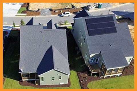 New construction home with solar on the roof